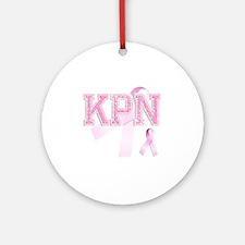 KPN initials, Pink Ribbon, Round Ornament