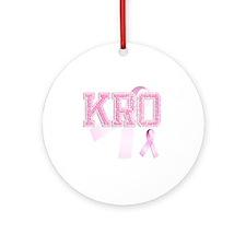 KRO initials, Pink Ribbon, Round Ornament