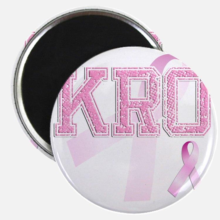 KRO initials, Pink Ribbon, Magnet