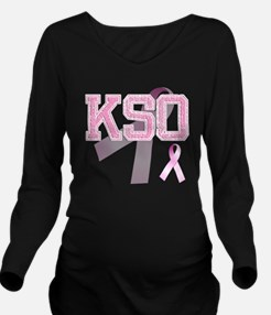 KSO initials, Pink R Long Sleeve Maternity T-Shirt