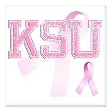 "KSU initials, Pink Ribbo Square Car Magnet 3"" x 3"""
