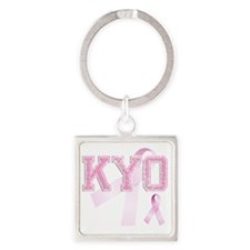 KYO initials, Pink Ribbon, Square Keychain