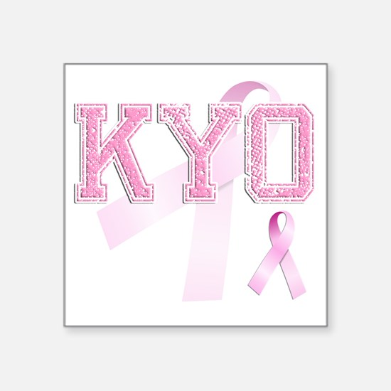 "KYO initials, Pink Ribbon, Square Sticker 3"" x 3"""