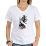Red Queen/Kitten Women's V-Neck T-Shirt