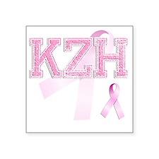"""KZH initials, Pink Ribbon, Square Sticker 3"""" x 3"""""""