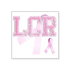 "LCR initials, Pink Ribbon, Square Sticker 3"" x 3"""