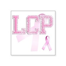 "LCP initials, Pink Ribbon, Square Sticker 3"" x 3"""
