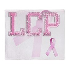 LCP initials, Pink Ribbon, Throw Blanket