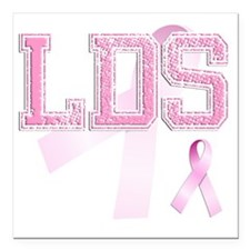 """LDS initials, Pink Ribbo Square Car Magnet 3"""" x 3"""""""