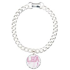 LEA initials, Pink Ribbo Bracelet