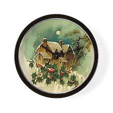 Vintage Christmas Scene Wall Clock