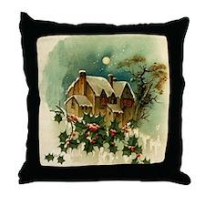 Vintage Christmas Scene Throw Pillow