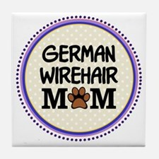 German Wirehair Dog Mom Tile Coaster