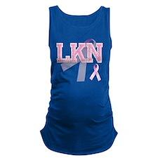 LKN initials, Pink Ribbon, Maternity Tank Top