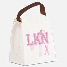 LKN initials, Pink Ribbon, Canvas Lunch Bag