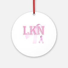 LKN initials, Pink Ribbon, Round Ornament
