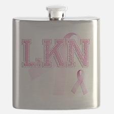 LKN initials, Pink Ribbon, Flask