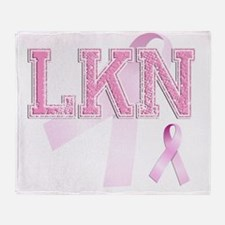 LKN initials, Pink Ribbon, Throw Blanket