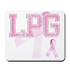 LPG initials, Pink Ribbon, Mousepad