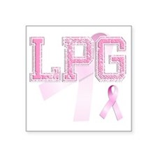 "LPG initials, Pink Ribbon, Square Sticker 3"" x 3"""