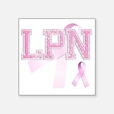 """LPN initials, Pink Ribbon, Square Sticker 3"""" x 3"""""""