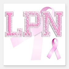 "LPN initials, Pink Ribbo Square Car Magnet 3"" x 3"""