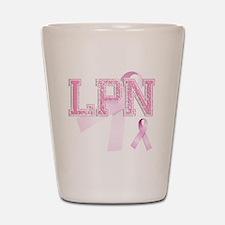 LPN initials, Pink Ribbon, Shot Glass