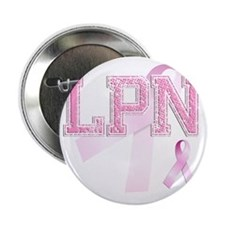 "LPN initials, Pink Ribbon, 2.25"" Button"