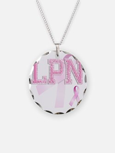 LPN initials, Pink Ribbon, Necklace
