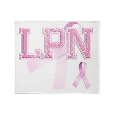 LPN initials, Pink Ribbon, Throw Blanket