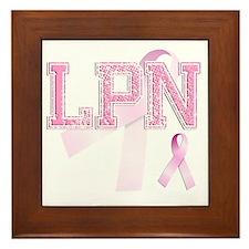 LPN initials, Pink Ribbon, Framed Tile