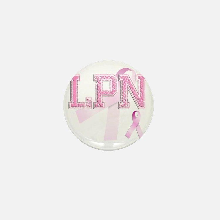 LPN initials, Pink Ribbon, Mini Button