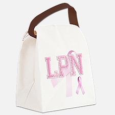 LPN initials, Pink Ribbon, Canvas Lunch Bag