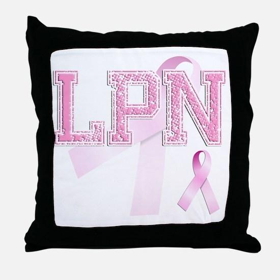 LPN initials, Pink Ribbon, Throw Pillow