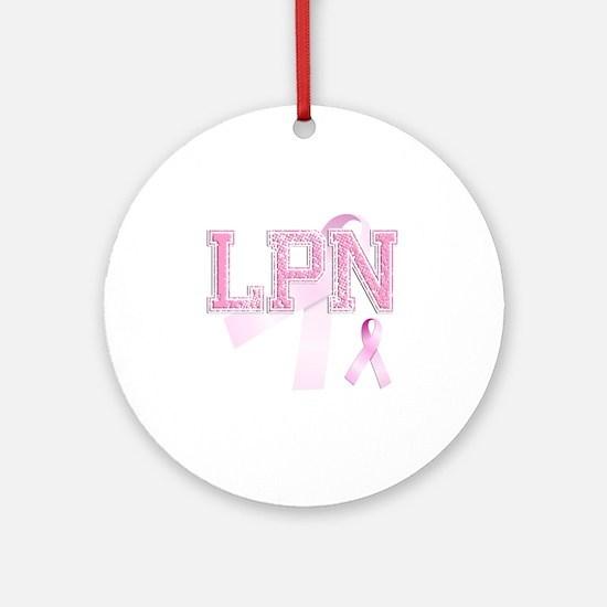LPN initials, Pink Ribbon, Round Ornament