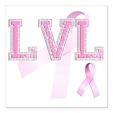 "LVL initials, Pink Ribbo Square Car Magnet 3"" x 3"""