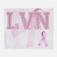 LVN initials, Pink Ribbon, Throw Blanket