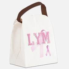 LYM initials, Pink Ribbon, Canvas Lunch Bag