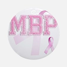 MBP initials, Pink Ribbon, Round Ornament