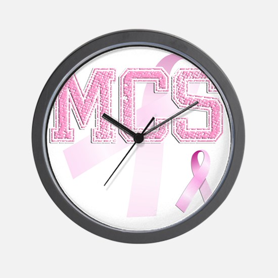 MCS initials, Pink Ribbon, Wall Clock