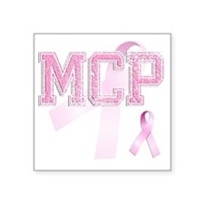 "MCP initials, Pink Ribbon, Square Sticker 3"" x 3"""
