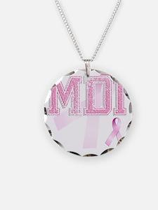 MDI initials, Pink Ribbon, Necklace