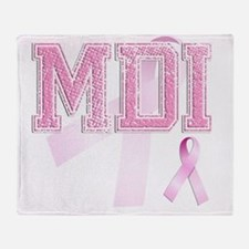 MDI initials, Pink Ribbon, Throw Blanket