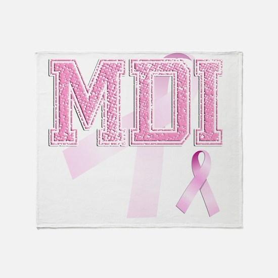 MDI initials, Pink Ribbon, Throw Blanket