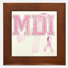 MDI initials, Pink Ribbon, Framed Tile