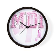 MDI initials, Pink Ribbon, Wall Clock
