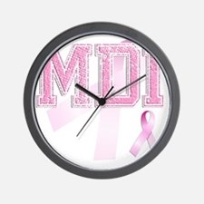MDI initials, Pink Ribbon, Wall Clock