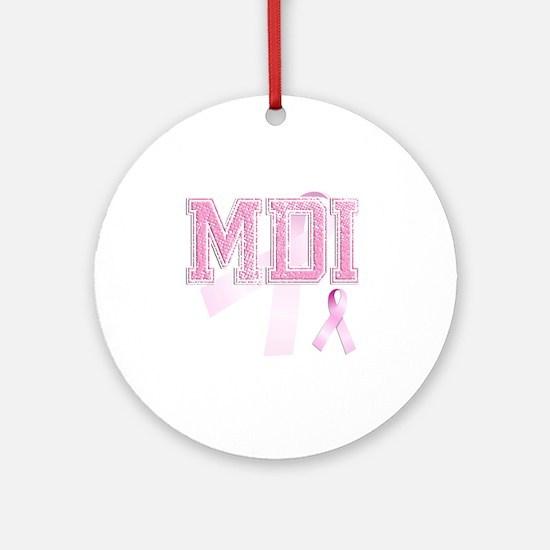 MDI initials, Pink Ribbon, Round Ornament