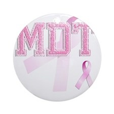 MDT initials, Pink Ribbon, Round Ornament
