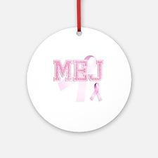MEJ initials, Pink Ribbon, Round Ornament